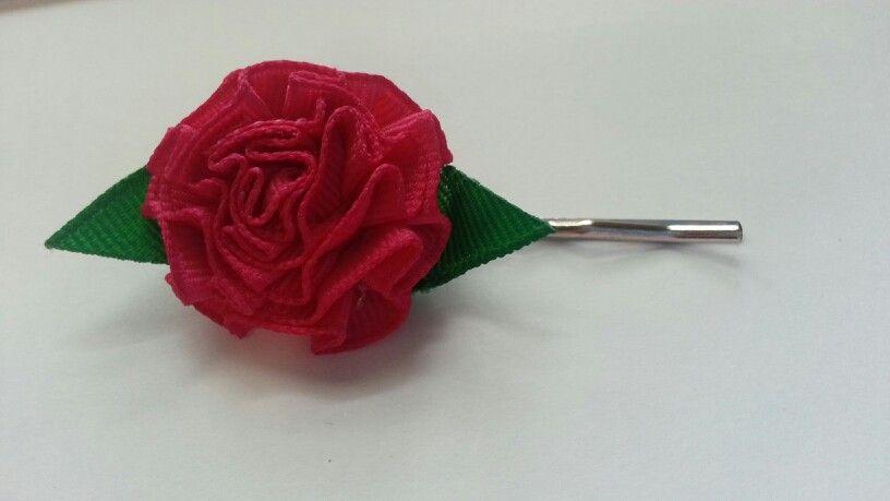 Pink flower bobby pin
