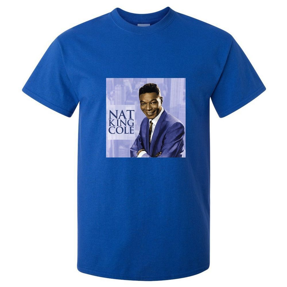 New Nat King Cole Jazz Blues Singer Men's T Shirt Blue