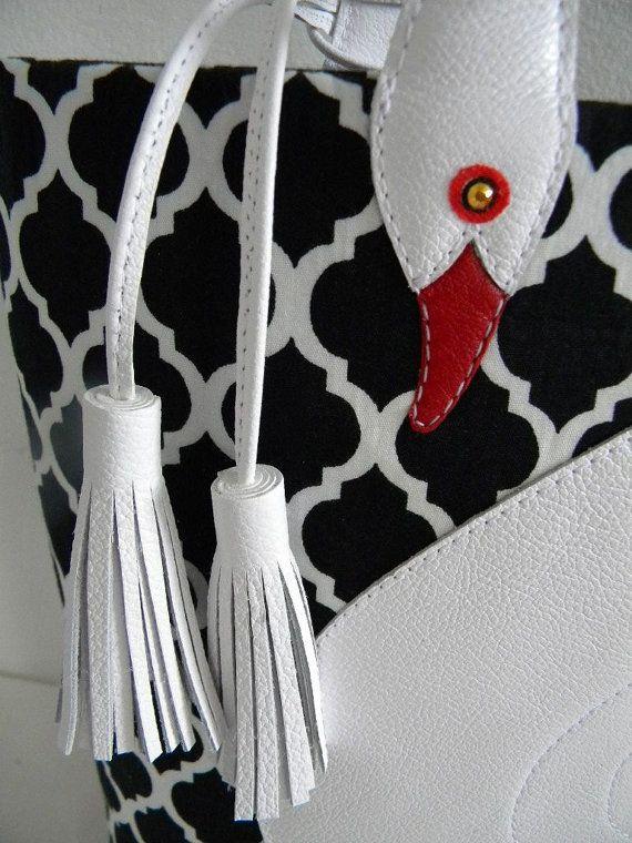 Quatrefoil Pattern White Leather Swan Bag Tote Purse by VaVaRa
