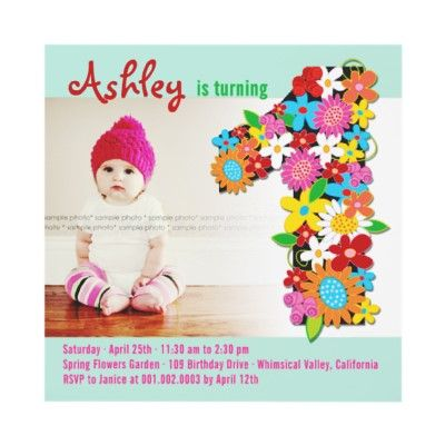 Spring Flowers 1 One Baby Girl Birthday Party Photo Invitation Card by fatfatin