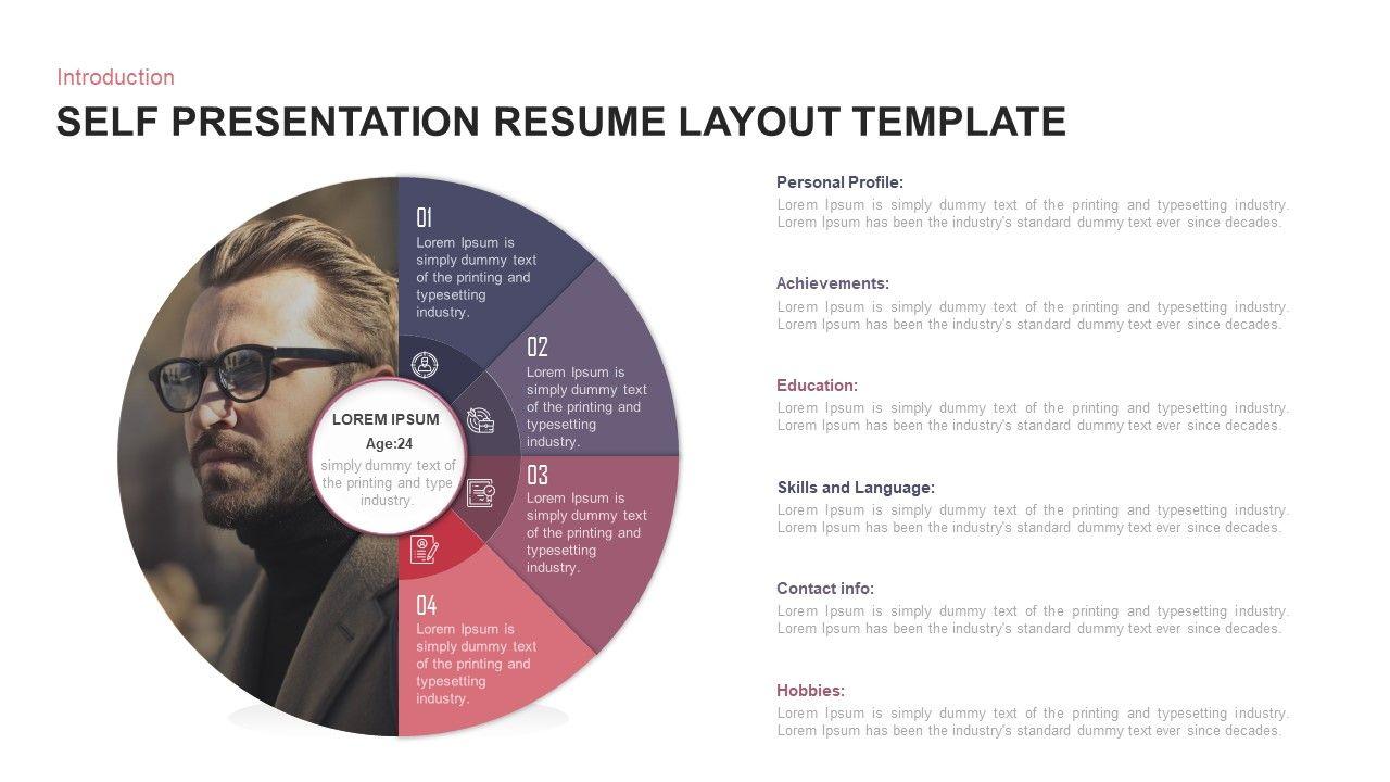 Self Presentation Creative Resume Ppt Layout Template Creative Resume Infographic Template Powerpoint Presentation