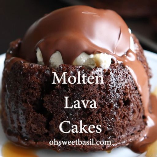 Chocolate Molten Lava Cake Recipe (Chili's Copycat!) - Oh Sweet Basil