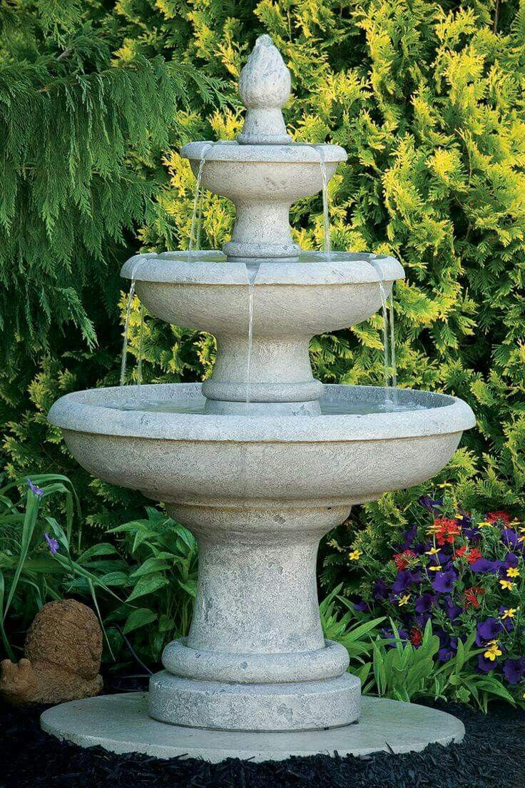 The 3 Tier Design Of The Vicobello Fountain Is Sleek Yet Elegant For Any  Home Garden. The Water Exits Up Through The The Finial And Fills The Top  Tier That ... Great Pictures