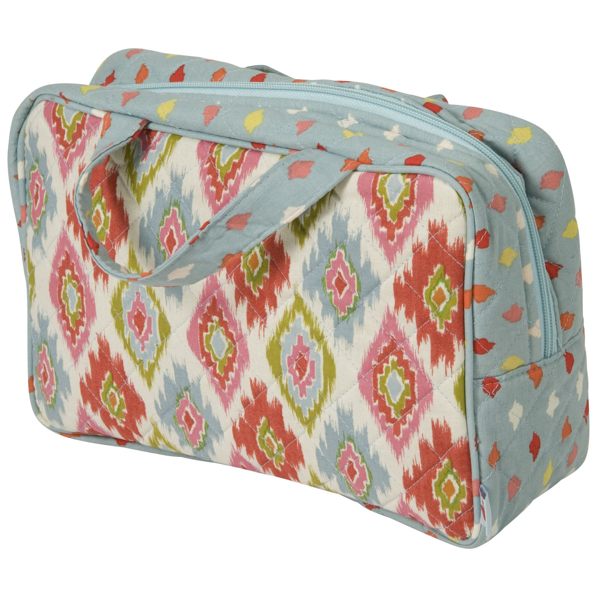 Padded And Sched Fabric Zippered Cosmetic Bag Makeup With Handle Blue