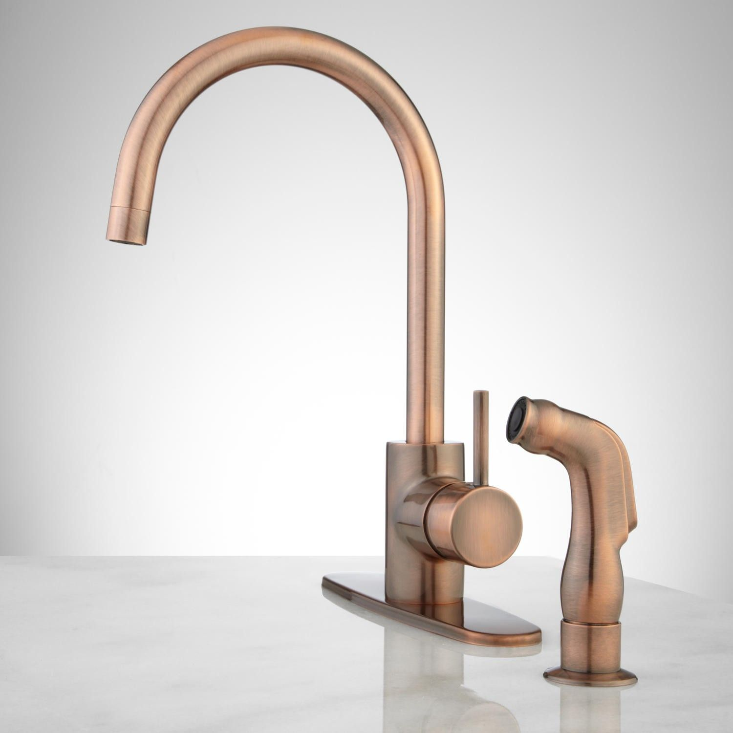 Henton Kitchen Faucet With Side Spray Kitchen Kitchen - Antique copper kitchen faucets