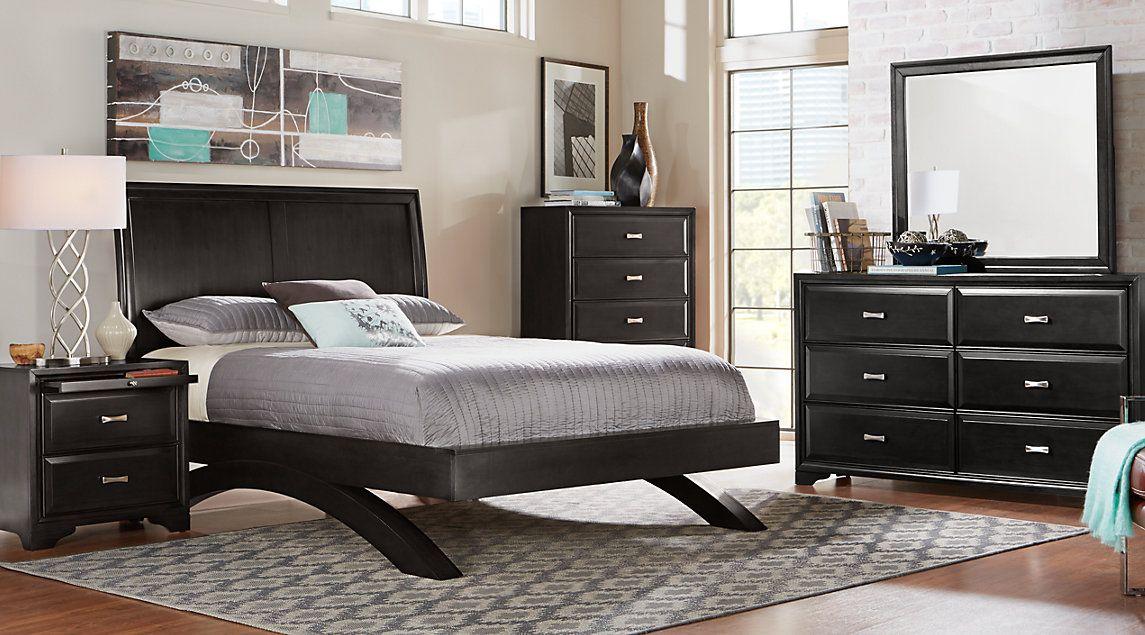 Belcourt Black 5 Pc Queen Platform Bedroom with Sleigh