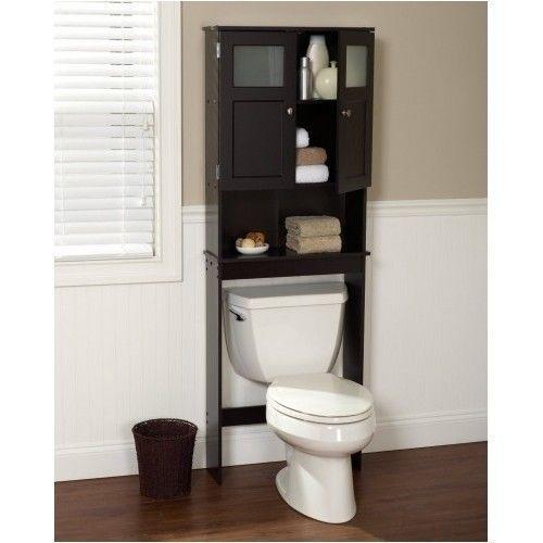 Wood Space Saver Storage Shelves Bathroom Over The Toilet Rack Cabinet Espresso Zenith Toilet Storage Bathroom Storage Units Bathroom Space Saver