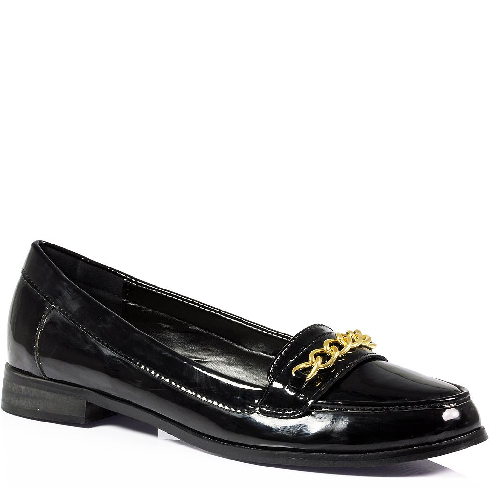 Womens Las Office Work Flat Vintage Chain Faux Leather Loafers Shoes Size