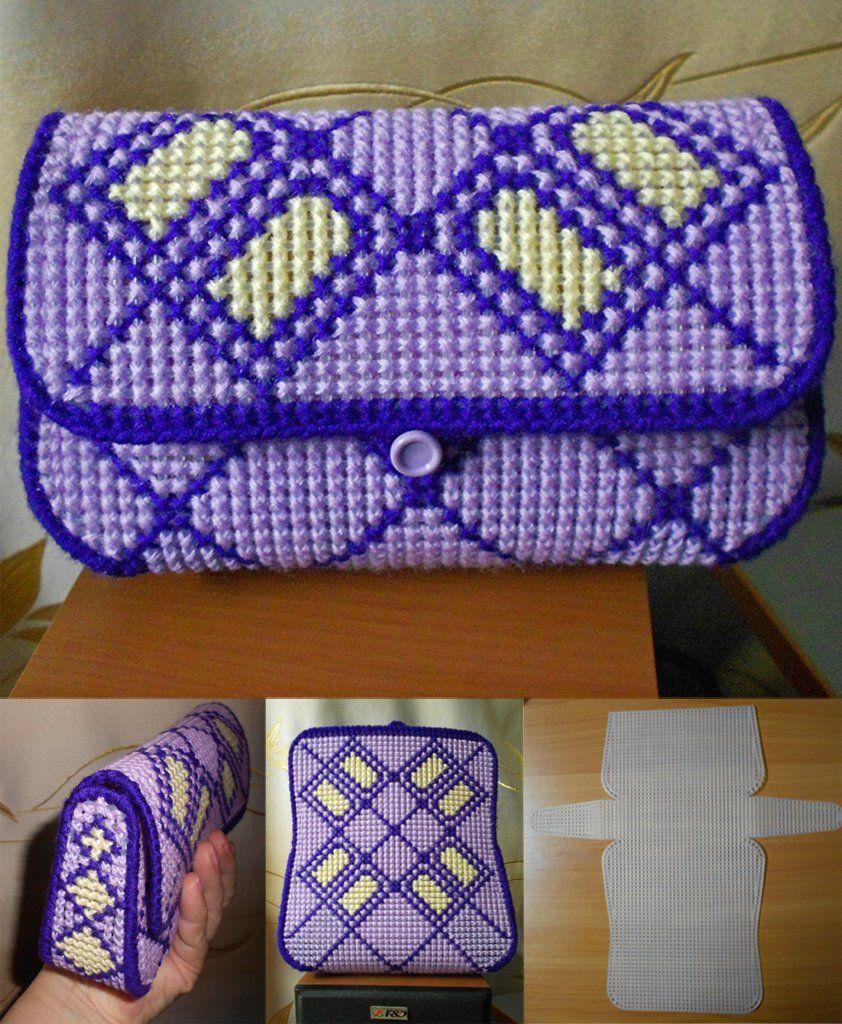 Вышивка на пластиковой канве сумки