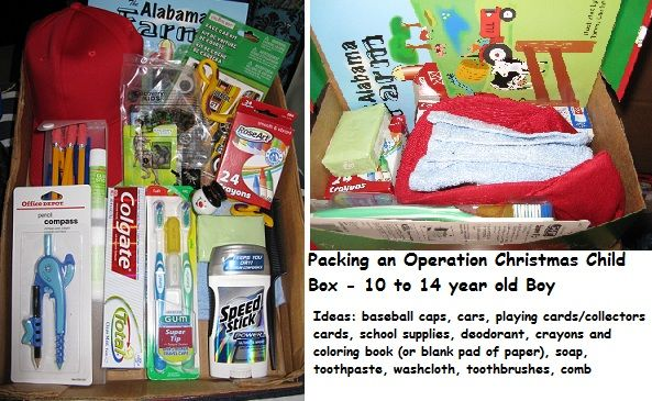 Operation christmas child gift ideas 10-14 boy baby