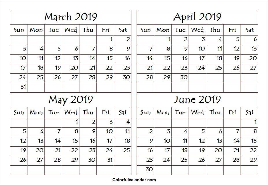 March April May June 2019 Calendar Calendar Printables June
