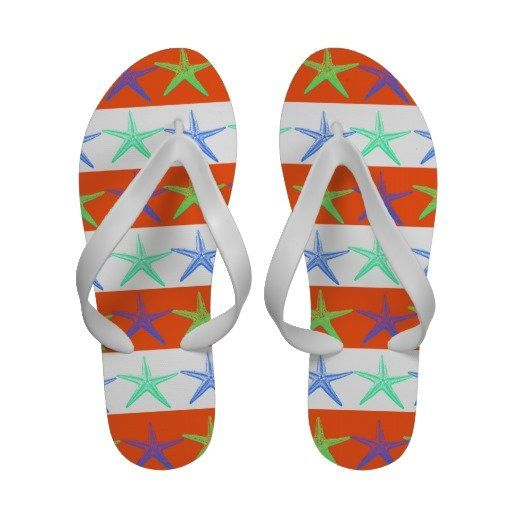 cfc8287a1a82d Beach Theme Starfish Ladies Flip Flops Sandals in orange and white ...