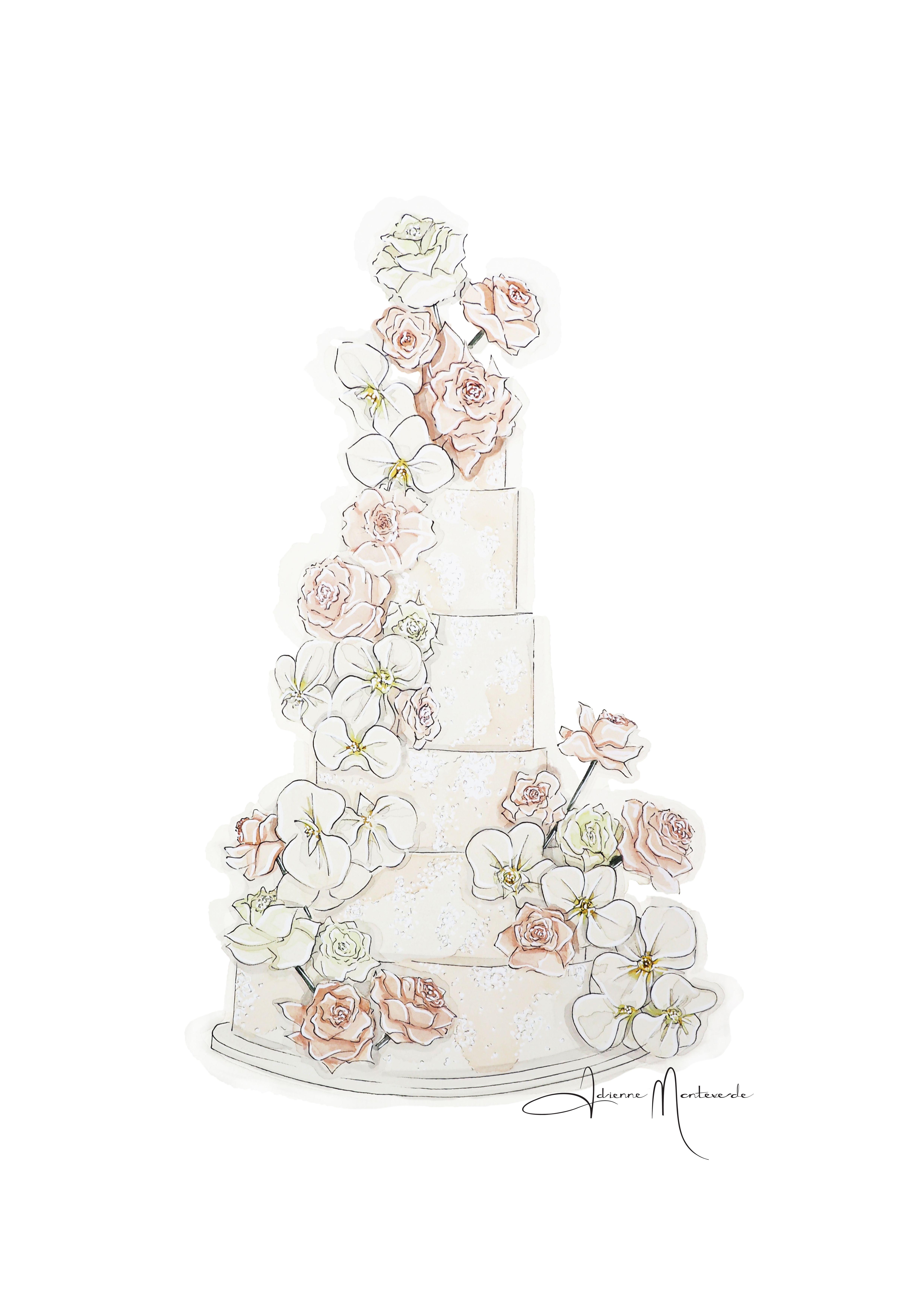 Watercolour Illustration By Adrienne Monteverde Wedding Cake