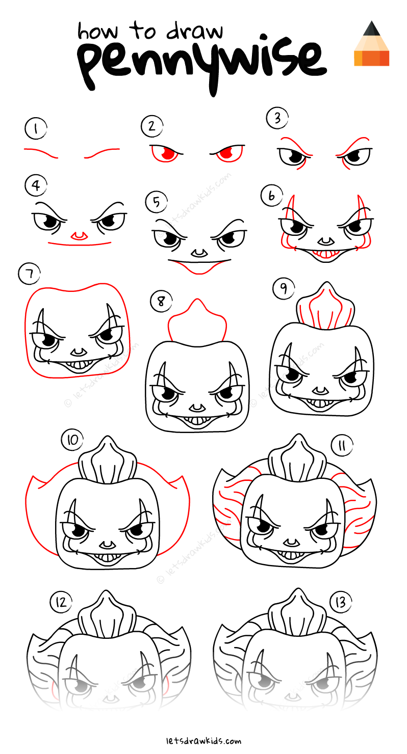 Learn How To Draw Pennywise the Clown with this stepby