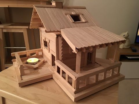 First Popsicle Stick House Youtube Miniature Houses Pinterest