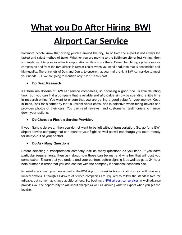 Booking a BWI airport car services in well-advance provides you - transportation invoice