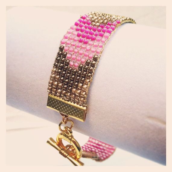 Pink Chevron Gold Tone Toggle Beaded Bracelet by wowpow on Etsy, $35.00