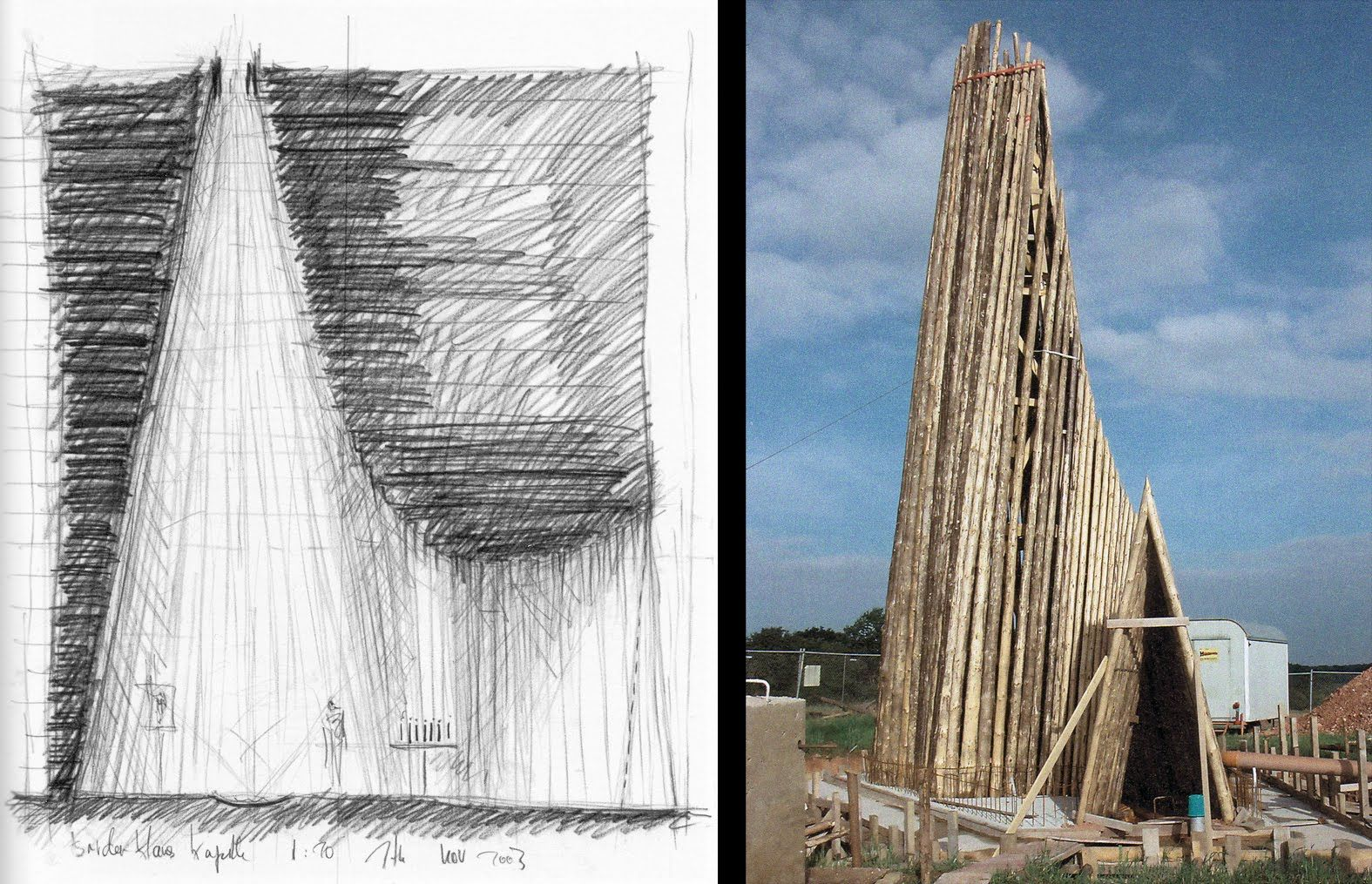 Sketch and construction photo. Bruder Klaus Chapel. Peter
