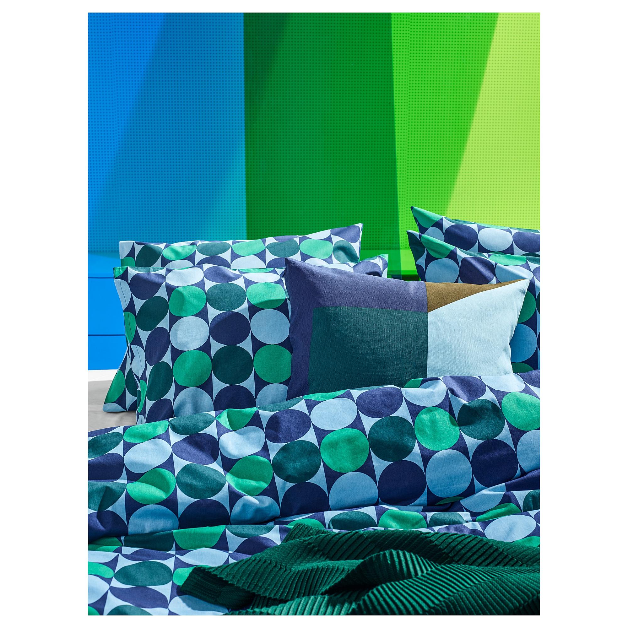 IKEA - MAJALISA Cushion cover blue, green/yellow | Green ...