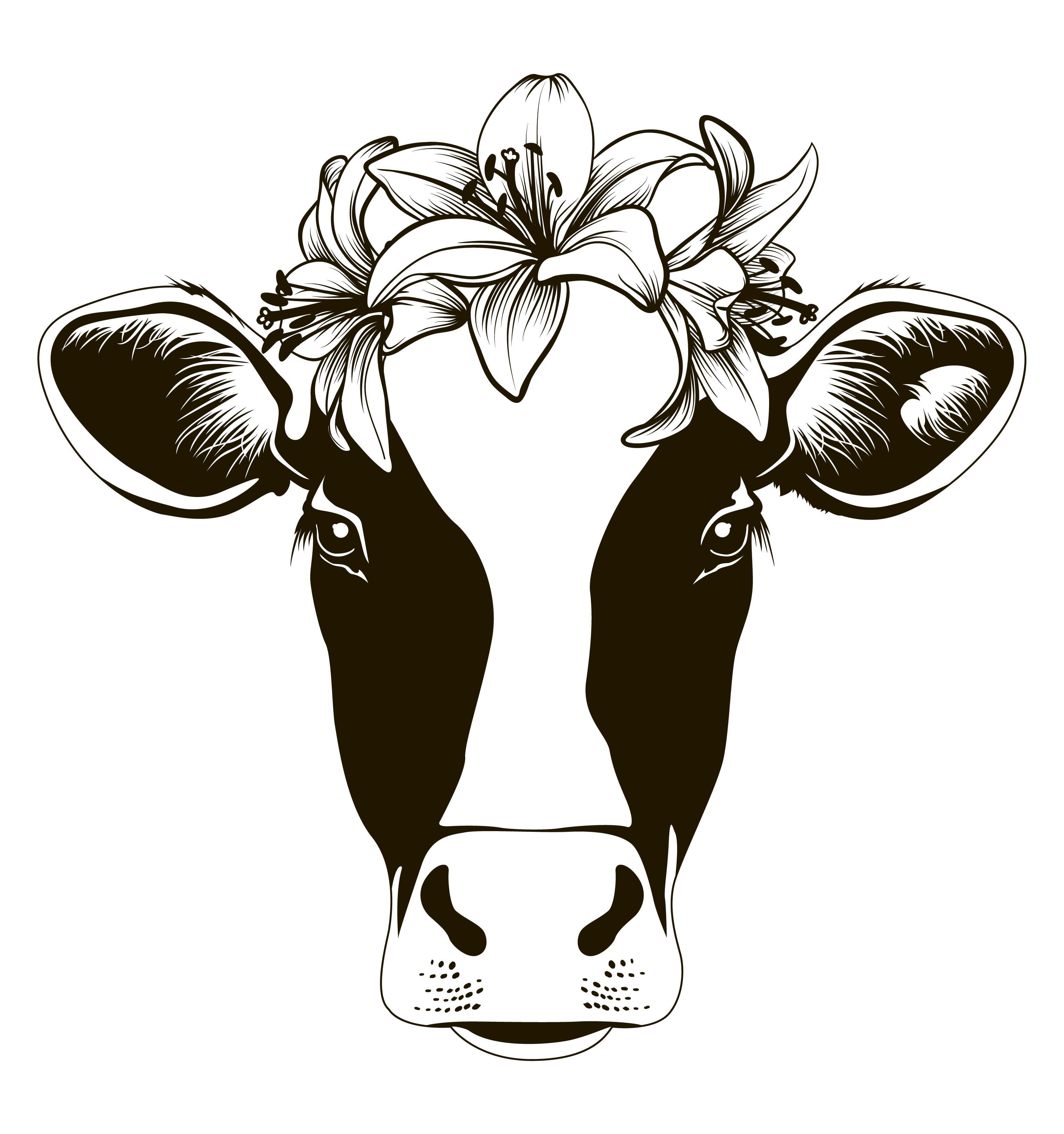 Cow face svg, cow head svg, cow with flowers svg, cute cow