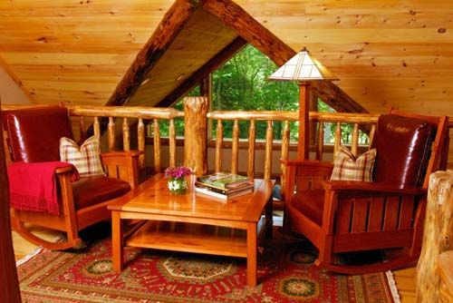 cabin loft decorating ideas | Adorable Log Cabin Feel of the ...
