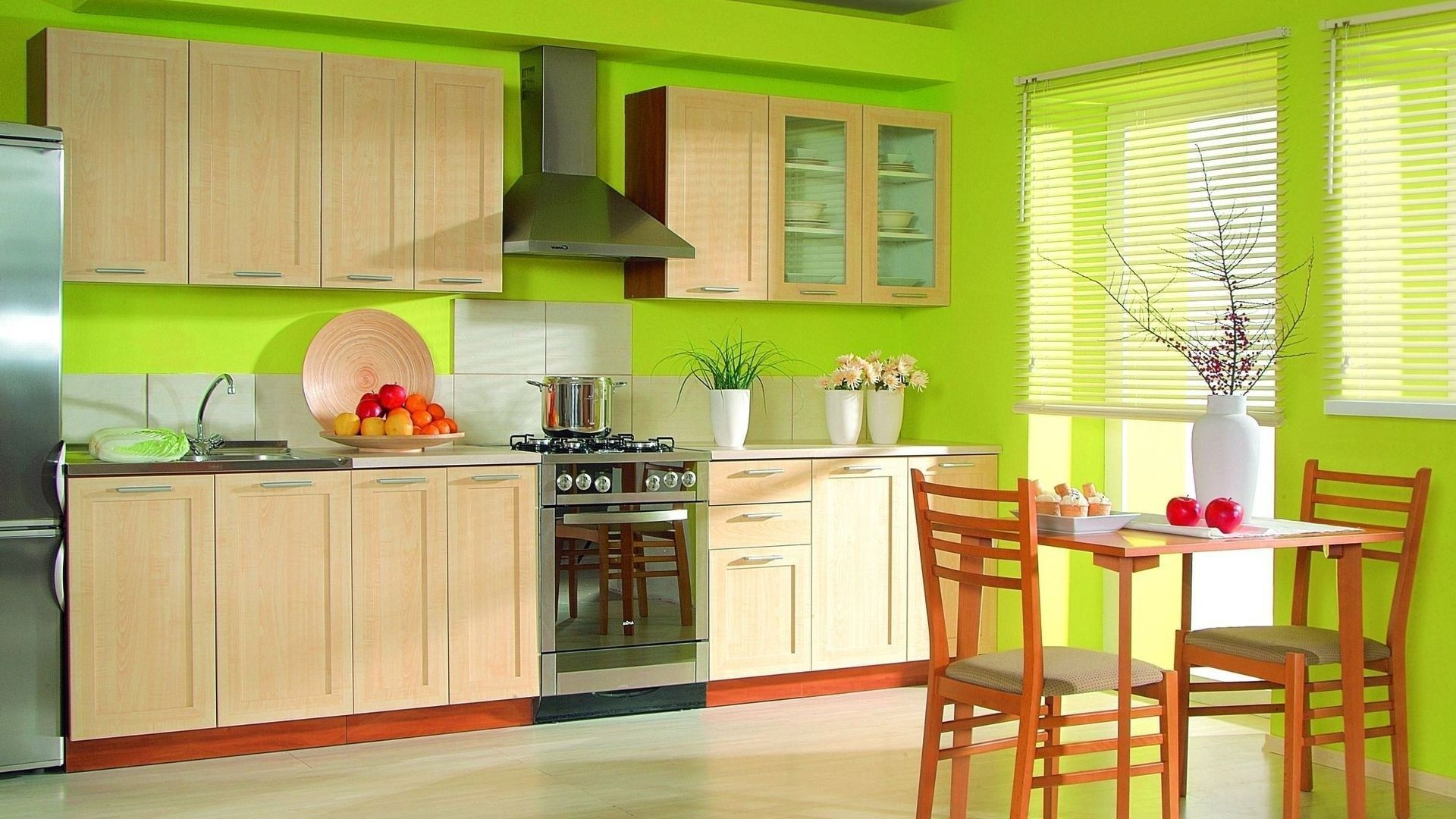 Modern Kitchen In Green Color Inspirations : Awesome Lime Green ...