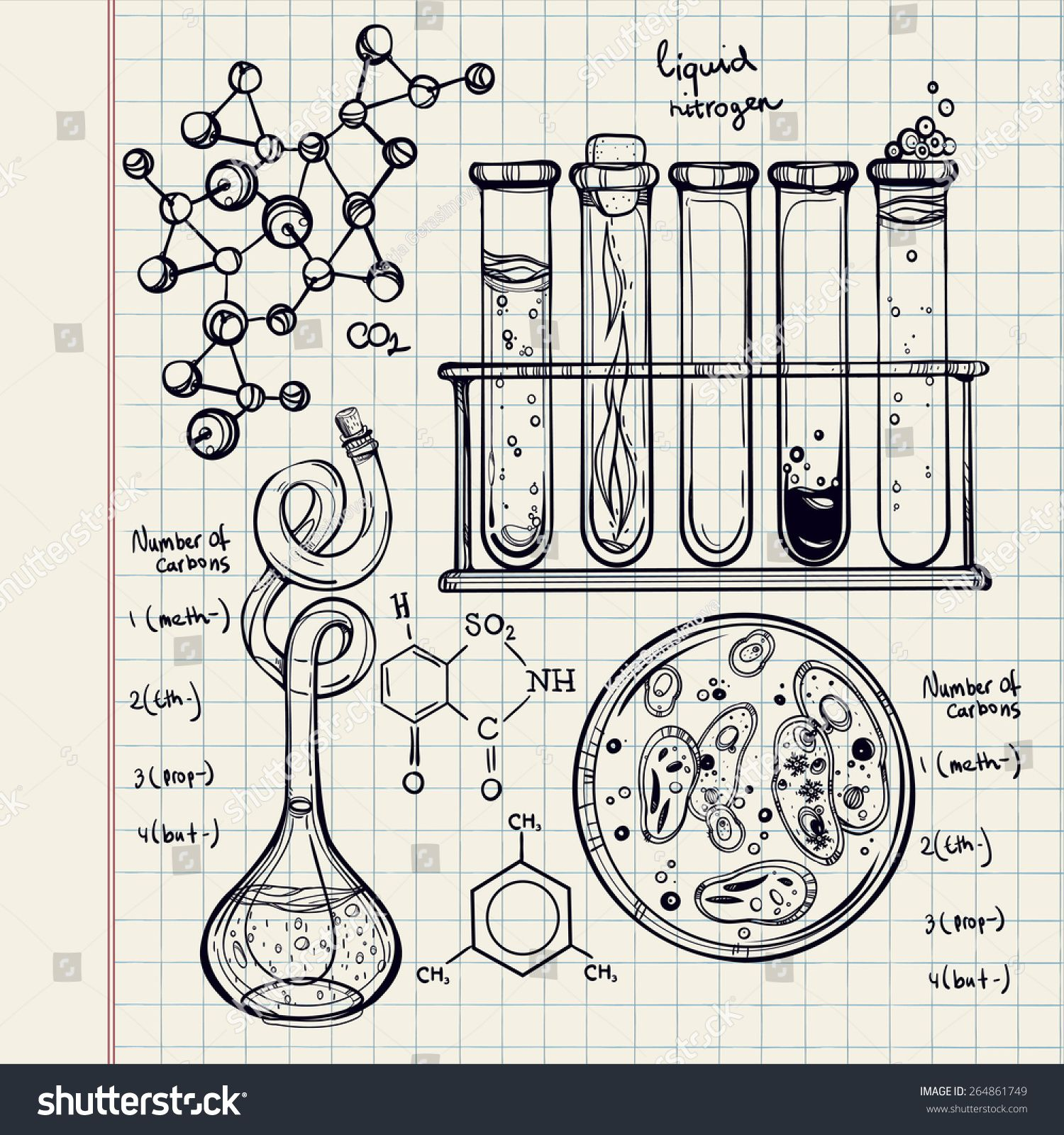 Hand Drawn Science Beautiful Laboratory Icons Sketch