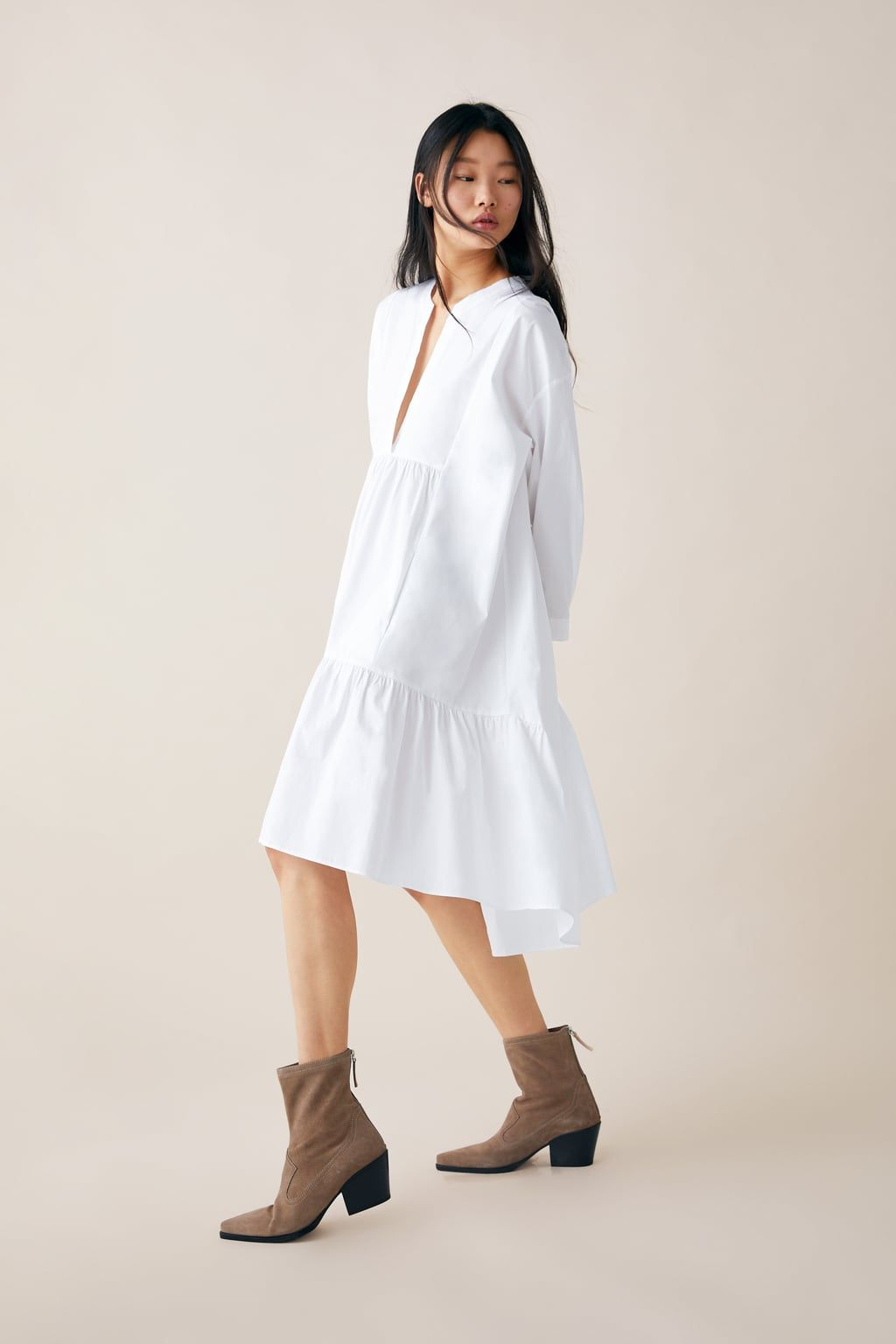 c5b28e3937560a Long poplin dress in 2019 | Zara | Poplin dress, Dresses, Shoulder dress