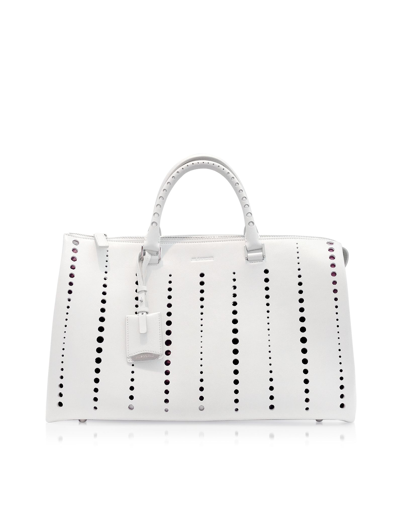 Jil Sander Large Bag Open White Perforated Leather Satchel At Forzieri