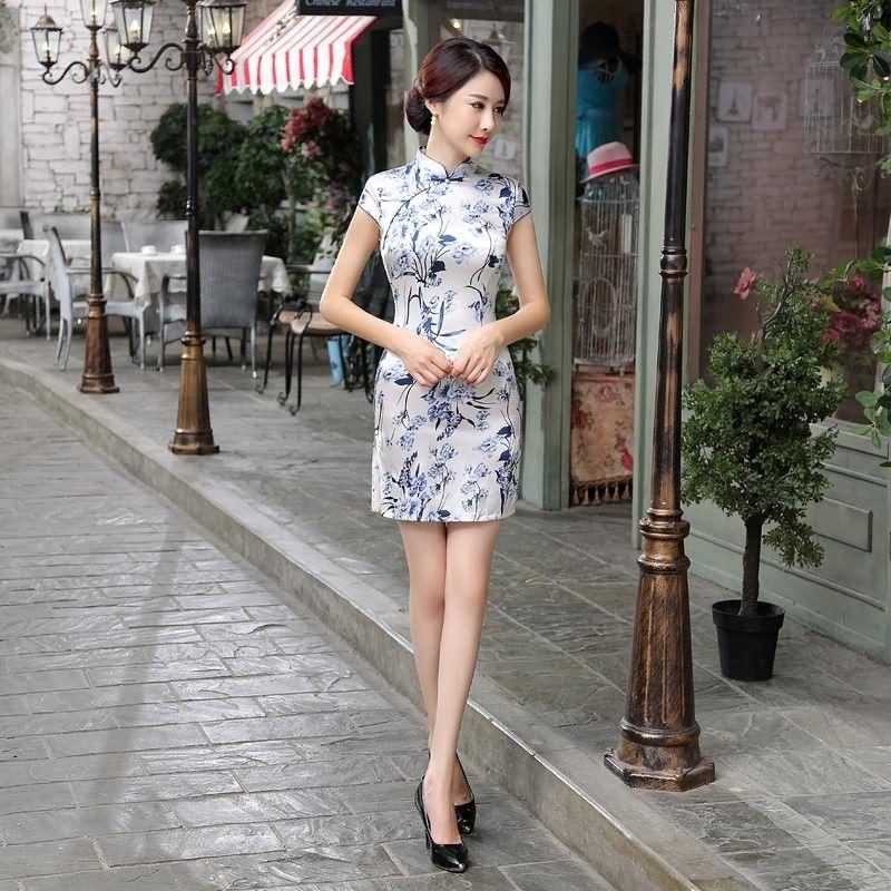 Short length Satin Fabric Cheongsam Qipao Chinese dress LGD65-A-02