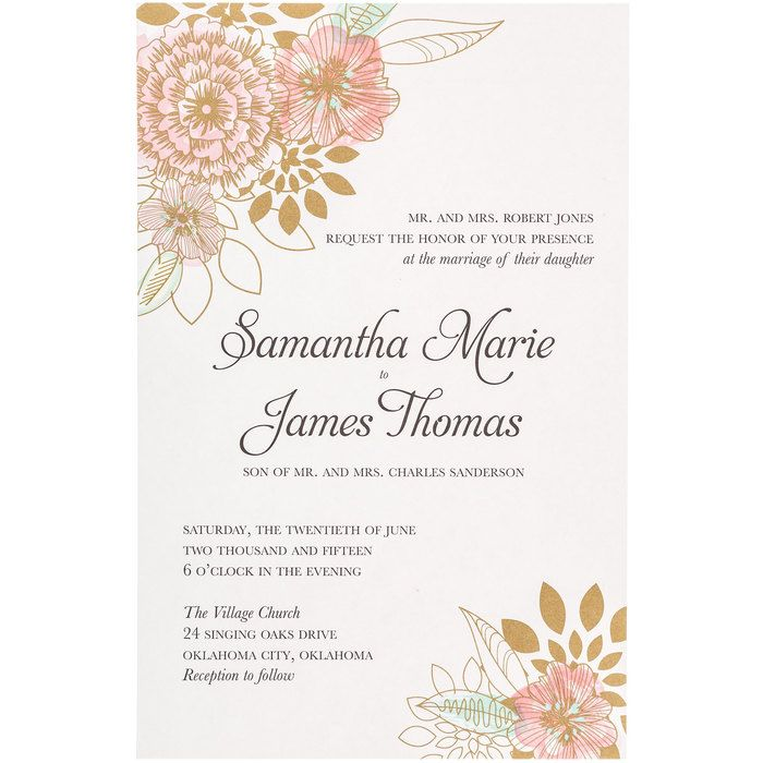 Pink Mint Floral Wedding Invitations