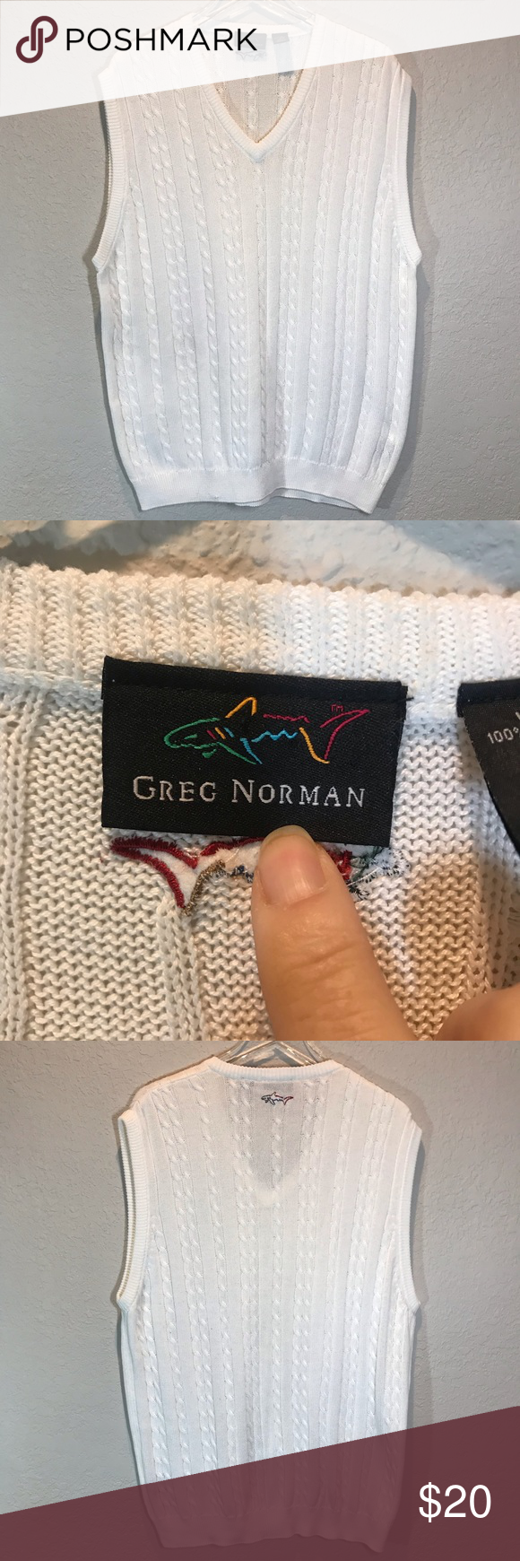 Greg Norman Men S Sweater Vest Sz Large Cream Cable Knit Sweater Vest From Greg Norman V Neck Collar Greg Norman Gr Sweater Vest Greg Norman Logo Embroidered