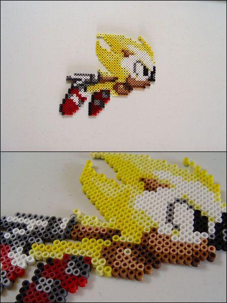 Sonic The Hedgehog Super Sonic Bead Sprite Magnet Perler Beads
