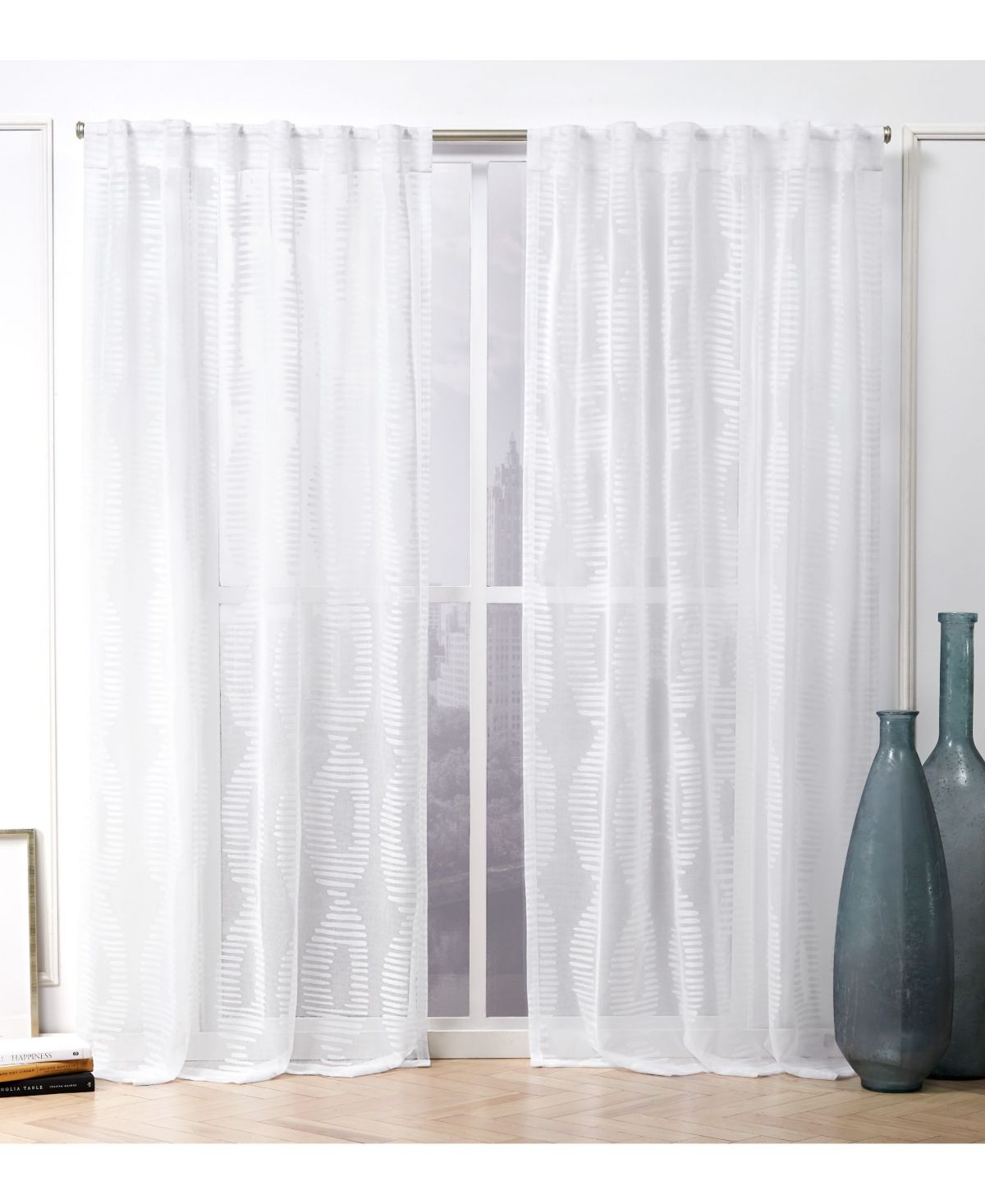 Nicole Miller Odense Sheer Abstract Hidden Tab Top Curtain Panel
