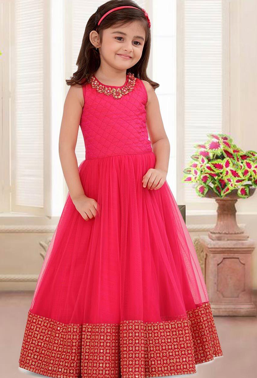 Pink Net And Silk Kids Anarkali Suit Pink Net Anarkali