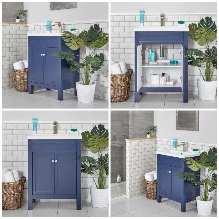 Milano Aston Navy 600mm Traditional Vanity Unit With Basin In 2020 Traditional Vanity Units Traditional Bathroom Basin Vanity Unit