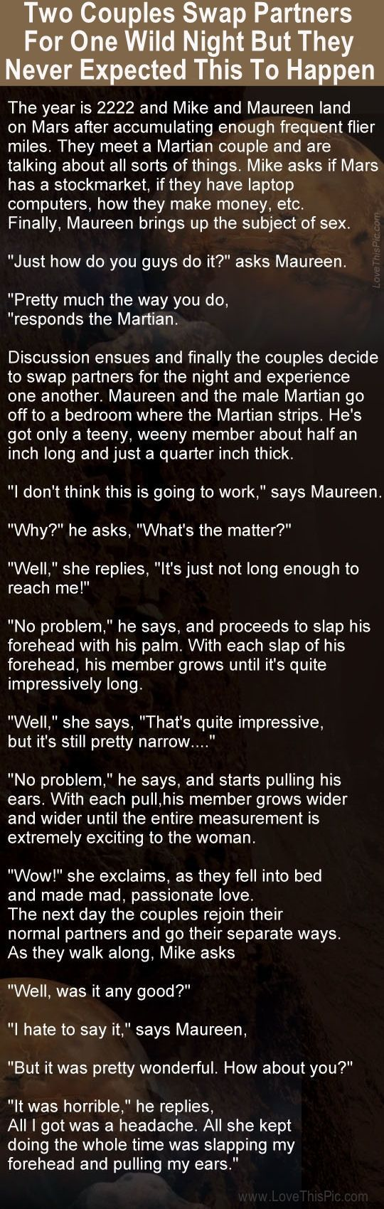 Wife Swapping Quotes : swapping, quotes, Couples, Partners, Night, Weren't, Expecting, This..., Stories,, Funny, Quotes,, Marriage, Humor
