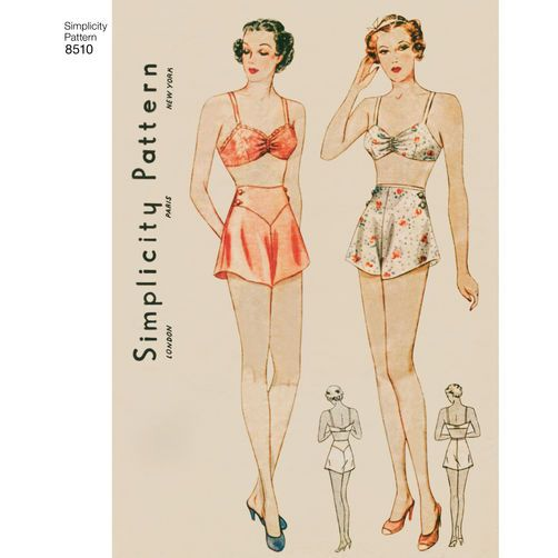 Simplicity Pattern 40 Misses' Vintage Brassiere and Panties Adorable Simplicity Patterns Vintage