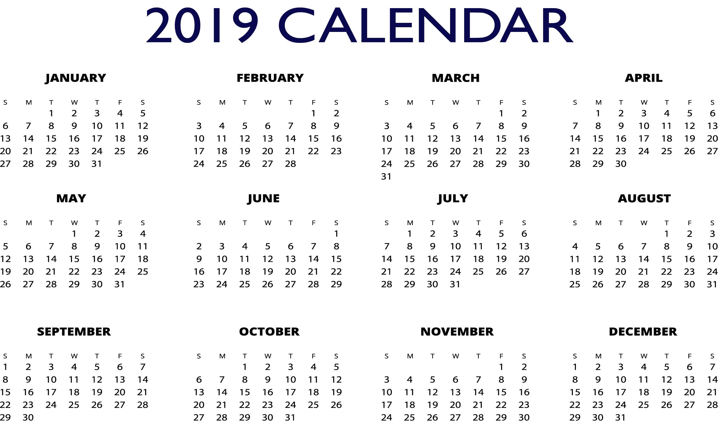 2019 Calendar One Page.2019 Excel One Page Calendar 2019 Calendars Free Calendar