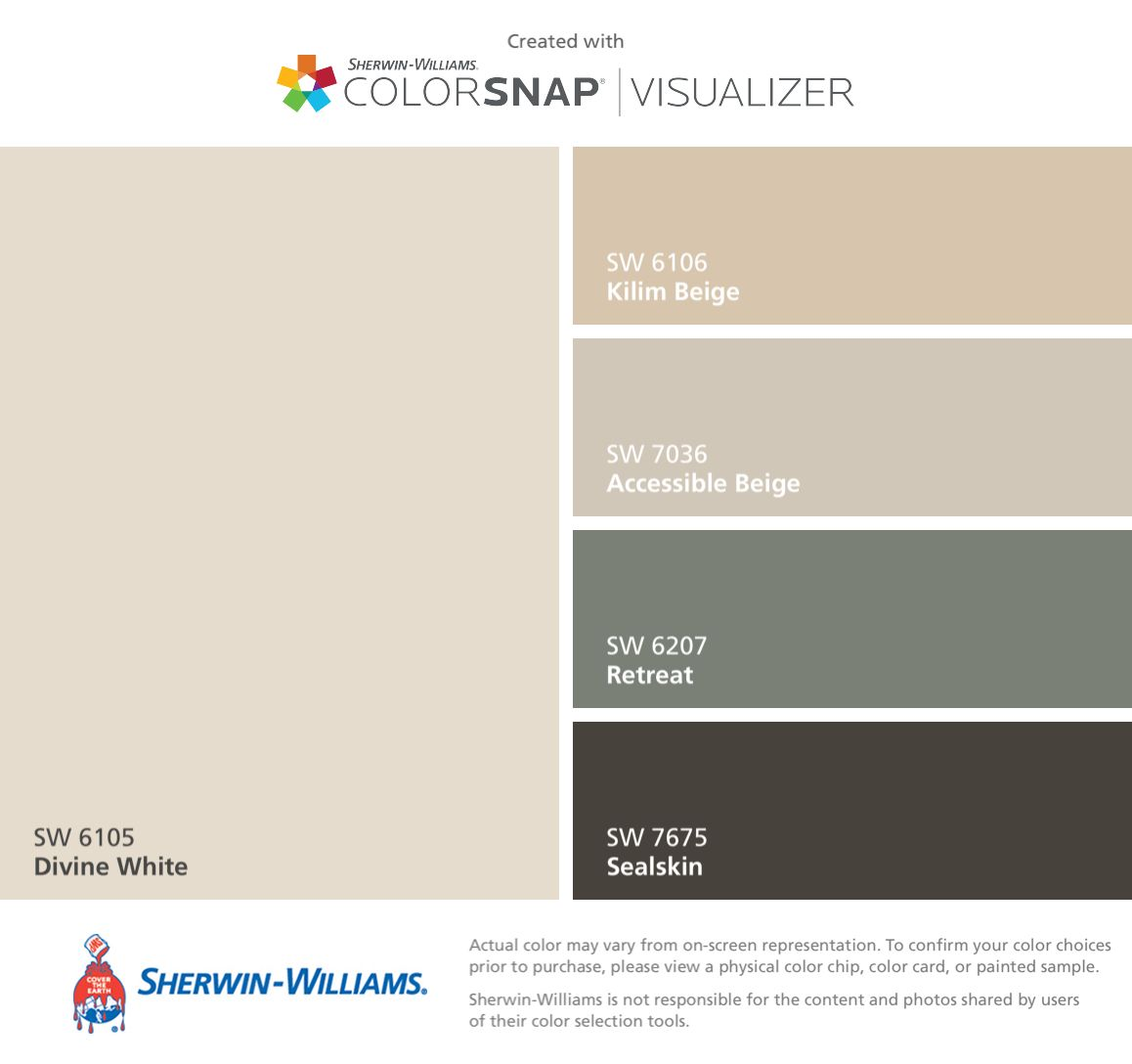 I found these colors with colorsnap visualizer for iphone by sherwin williams divine white sw 6105 kilim beige sw 6106 accessible beige sw 7036
