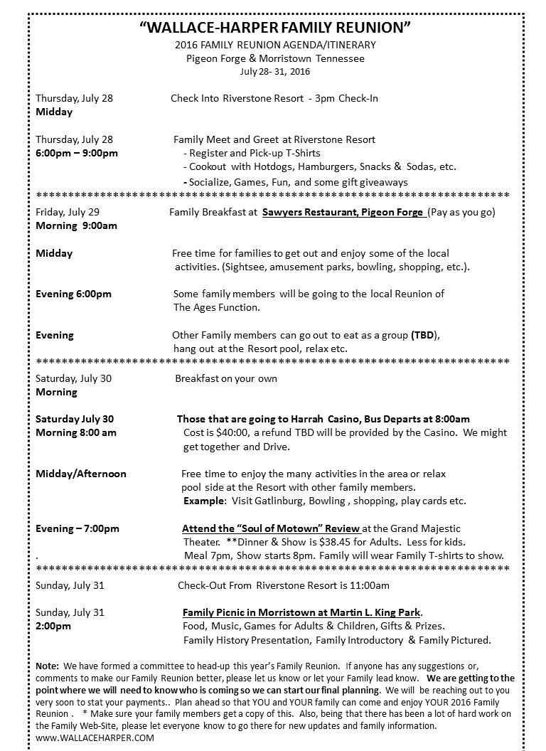 2016 Family Reunion Agenda/Itinerary Family reunion