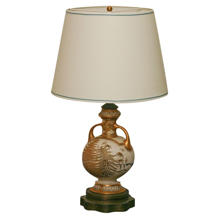 1930 S Embossed Gold Fern Motif Vintage Table Lamp Contemporary Lamps Table Lamp