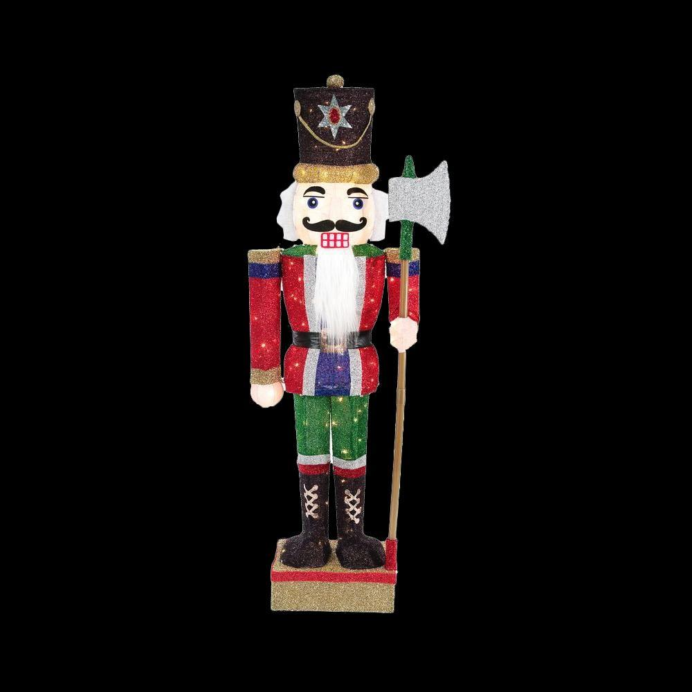 Home Accents Holiday 65 in. LED Lighted Tinsel Nutcracker with Axe ...