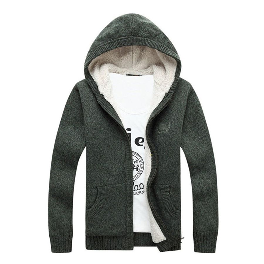 2016 Winter Mens Plus Size M-3XL Hooded Outdoors Thicken Warm Wool ...