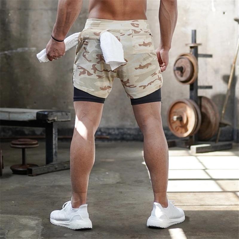 Running Shorts Men 2in1  Sports Jogging Fitness Training Quick Dry Men Gym^