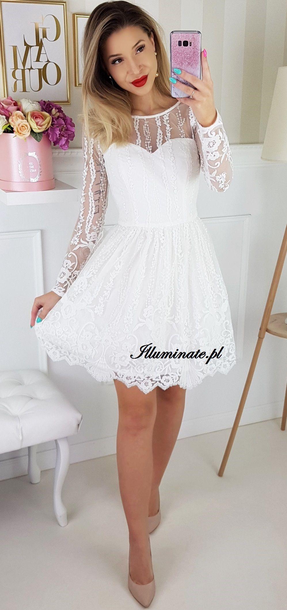 ed18d85a58 Biała koronkowa tiulowa sukienka na poprawiny. Piękna krótka ślubna sukienka  z długim rękawem.