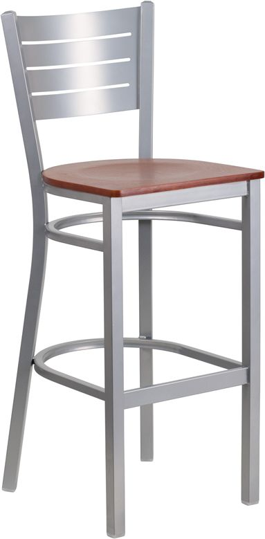 Metal Barstool Slat Back Design Cherry Finished Wood Seat 625 Thick Plywood Welded Joint Embly Two Curved Support Bars Footrest