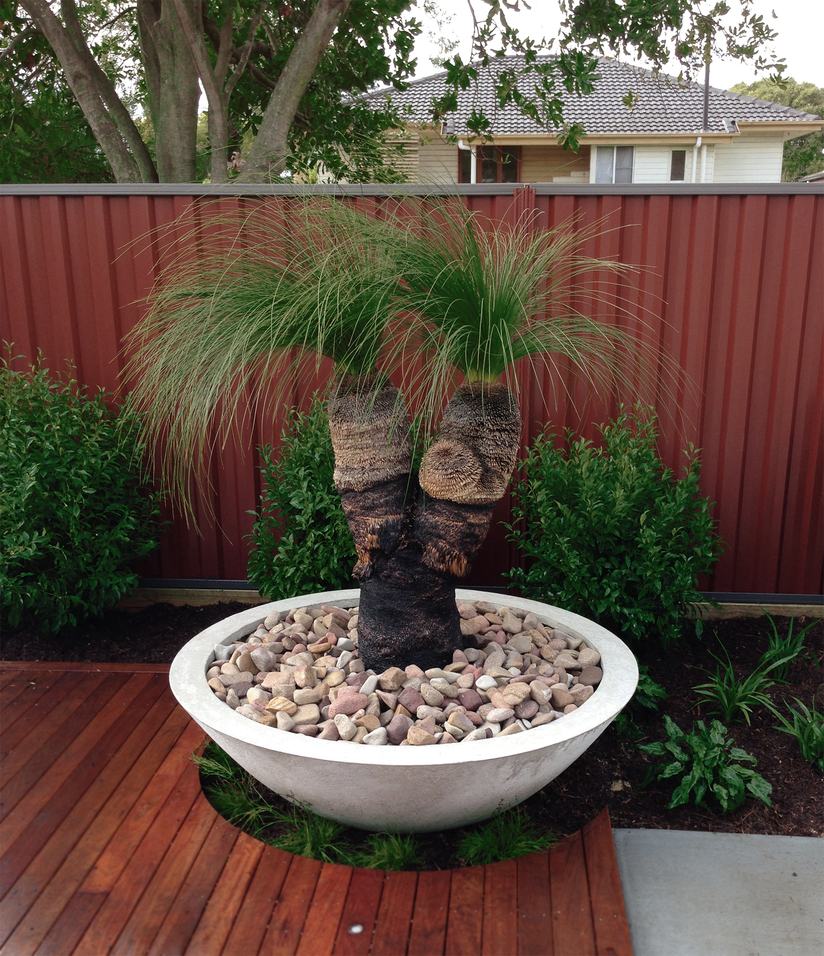 Completed landscaping project we built in brisbane for Garden features australia