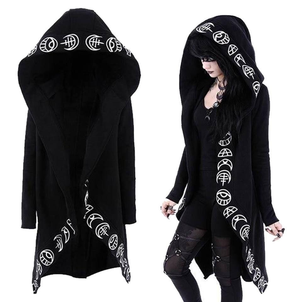 Goth women rosatic witch print hoodie plus size black s