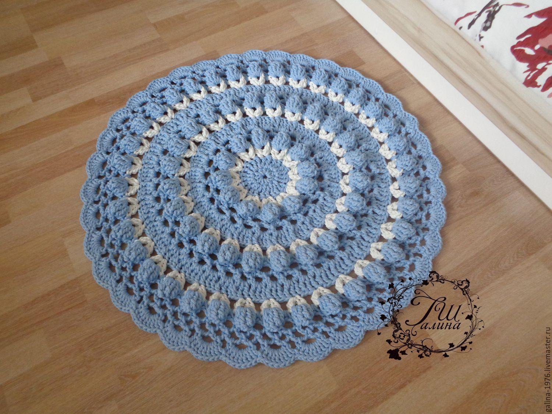 купить вязаный коврик мираж голубой вязаный ковер ручная